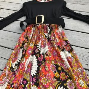 1970's Psychedelic Maxi Party Dress
